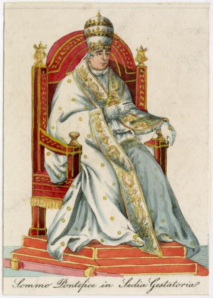 THE POPE in Sedia Gestatoria (in the Gestatroial Chair, in which he is carried on certain special occasions)