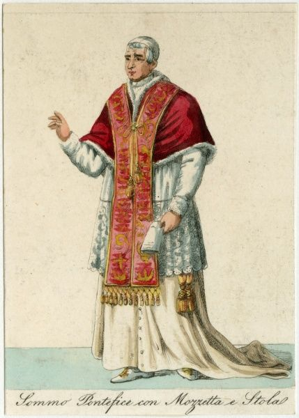 THE POPE wearing mozzetta and stola