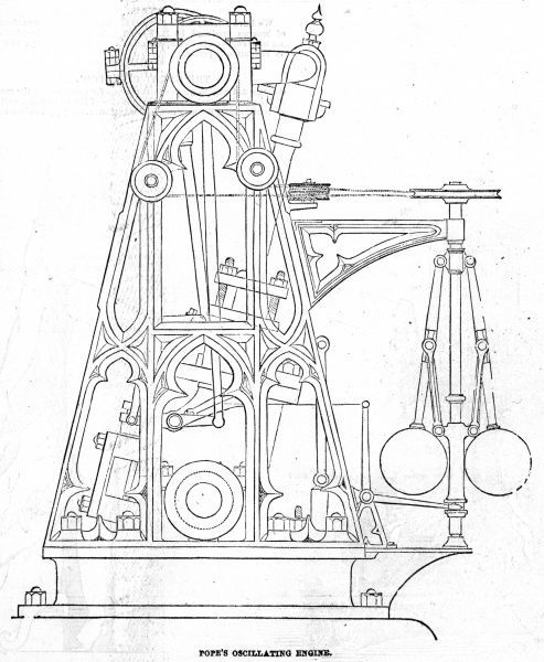Engraving of a cross-section of Pope's oscillating engine. The engine made 70 revolutions per minute with the engine power calculated to be that of four horses