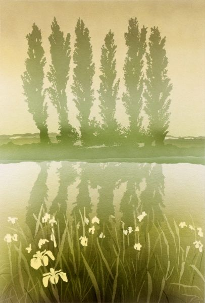Yellow Flag Iris grow on the bank of a dyke, bordered on the far side with a row of six poplars. Airbrush painting by Malcolm Greensmith
