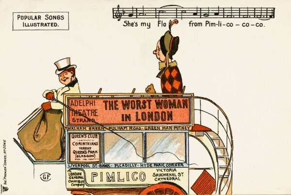 "Popular Songs Illustrated - 'Pimlico'. ""She's My Flo from Pim-li-co-co-co"" - a lady getting onto the upper open deck of a horse bus with a jolly driver"