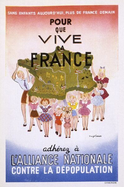 French postcard encouraging population growth - If France is to live, join the Alliance against depopulation... Date: 1930s