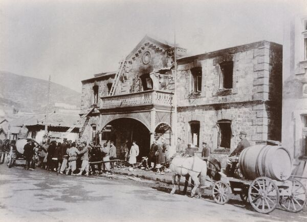 Port Arthur (Dalian) - a Russian administrative building damaged during the Japanese bombardment in February 1904
