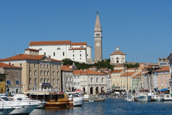 View of the port and town of Piran, on the north Adriatic coast of Slovenia