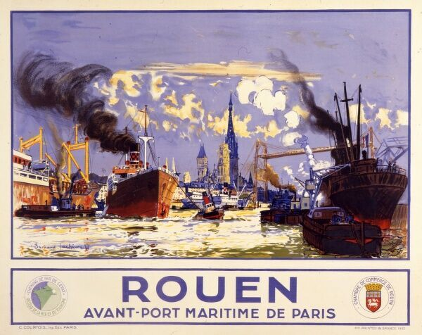 Poster advertising the port of Rouen from the Rouen Chamber of Commerce. The port is full of ships of every description from steamships to tugs