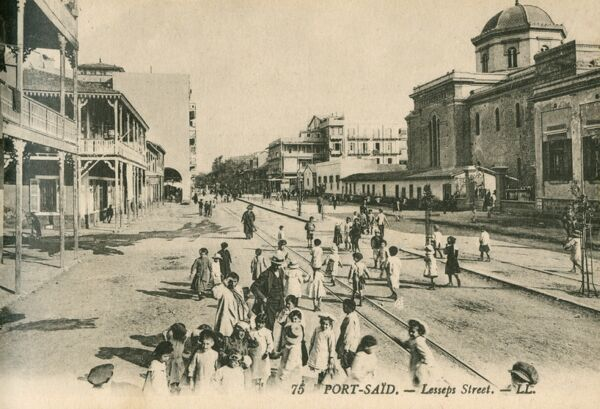 Lesseps Street, Port Said, Egypt - hildren playing in the street