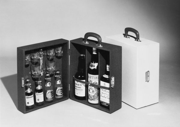 A handy case containing whisky, Martini and gin, mixers, a bottle opener and glasses!