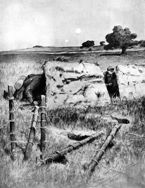 French observation soldiers sheltering behind imitation trenches made from iron plates covered with painted canvas and grass