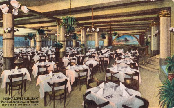 The Portola-Louvre Restaurant in San Francisco at Powell and Market Street Date: 1920s