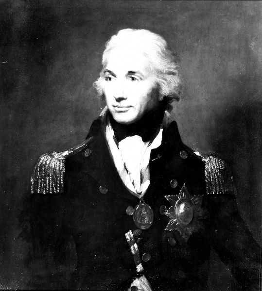 This is a photographic reproduction of a painting of the 1st Viscount Horatio Nelson who lived from 1758 to 1805