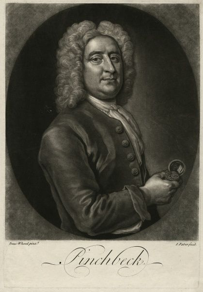 Undated head and shoulders mezzoprint portrait of Christopher Pinchbeck by Isaac Whood