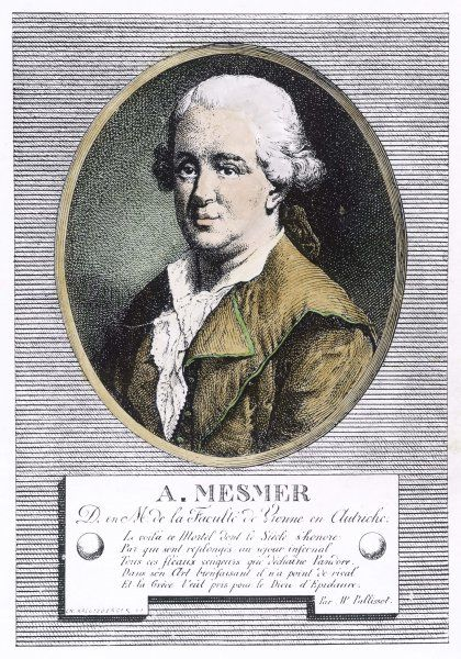 Portrait of Franz Anton Mesmer, who discovered 'animal magnetism' or mesmerism