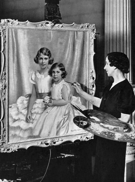 Painter Miss Margaret Lindsay Williams at work in her London studio on a portrait of Princess Elizabeth (ten years old) and Princess Margaret (six years old)