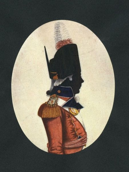 Silhouette portrait of a private in an English regiment in the late 18th century. Date: late 18th century