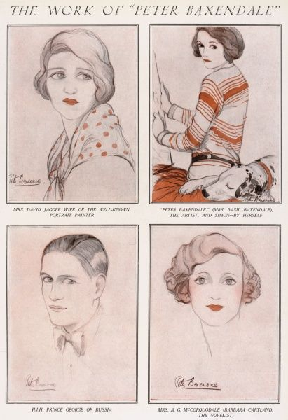 Four portrait sketches by Peter Baxendale, aka Mrs Basil Baxendale. From top left, Mrs David Jagger, wife of the well-known portrait painter, a self-portrait together with her dog, Simon, H.I.H, Prince George of Russia and finally, Mrs A. G