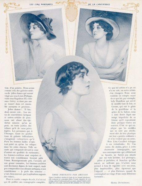 Three profile portraits of the beautiful Italian opera singer, Mlle Lina Cavalieri