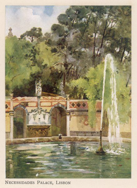 Lisbon: fountain in the garden of the Necessidades Palace