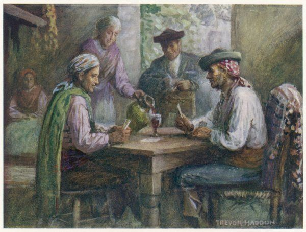 Wine is served during a card game in a posada, or Spanish bar