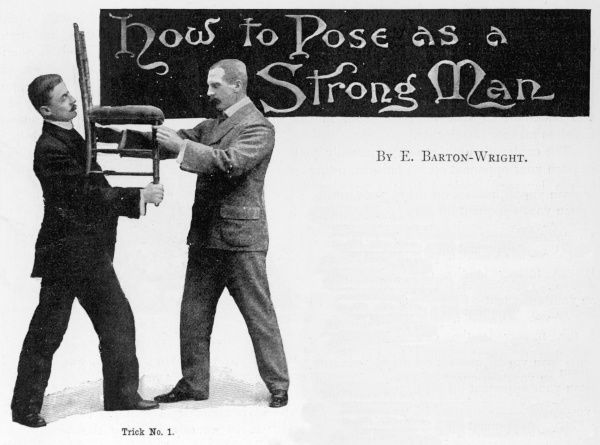 Trick No. 1 - 'How to master a man with two fingers' from 'How to Pose as a Strong Man', an article in Pearson's Magazine, March 1899 by Edward William Barton-Wright. Barton-Wright devised a hybrid martial art, after studying in Japan