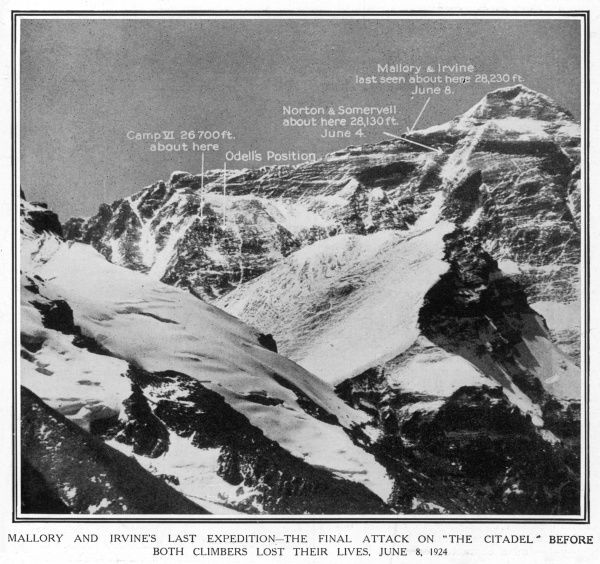 Photograph showing Mount Everest, with the relative positions of Camp VI, and the furthest points reached by Norton and Somervell and Mallory and Irvine, 1924