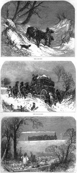 Three engravings to illustrate the changing modes of postal delivery through the nineteenth century