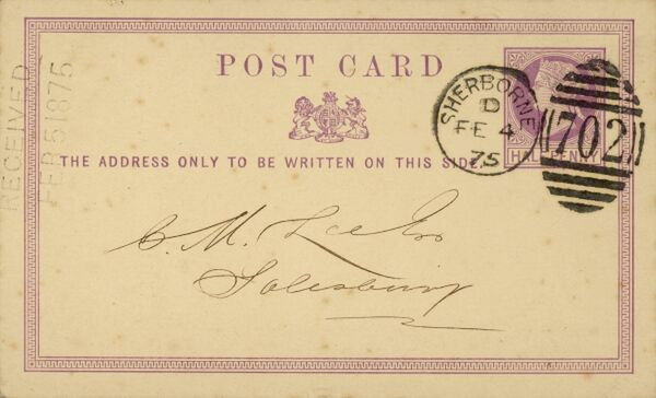 Addressed to C M Lee Esq of Salisbury - the postman is expected to know in which street and house the gentleman lives !