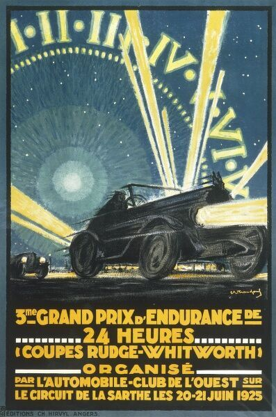 Poster advertising the third 24 hour Le Mans grand prix at the La Sarthe circuit, 20 to 21 June 1925
