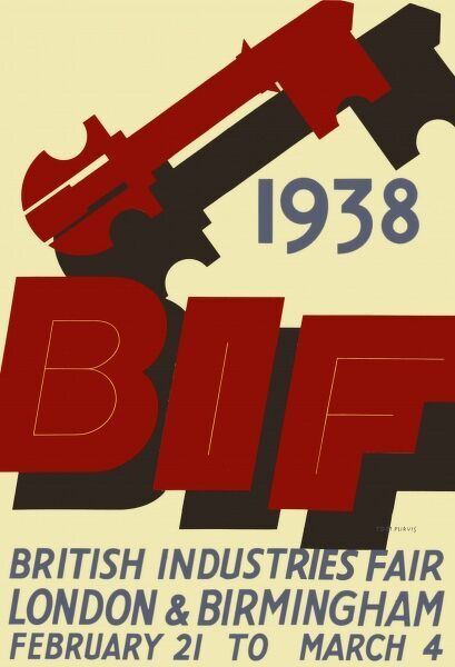 Poster advertising the 1938 British Industries Fair, London and Birmingham, 21 February to 4 March