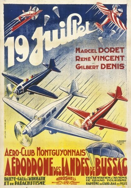 Poster advertising an Aero Club Montguyonnais event at the Aerodrome des Landes de Bussac, with planes and parachutes