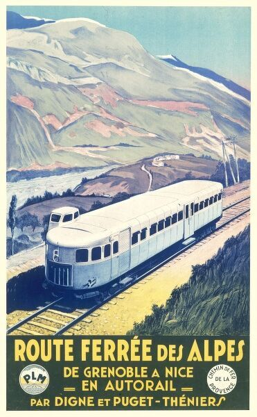 Poster for PLM advertising the alpine railway between Grenoble and Nice