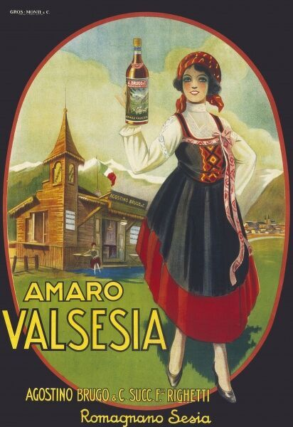 Poster advertising Amaro Valsesia, a bitter aperitif made in northern Italy
