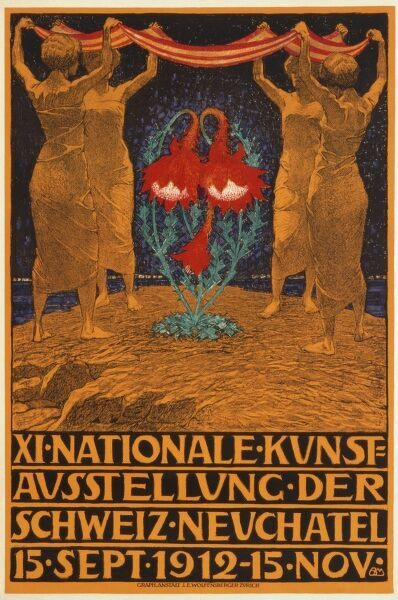 Poster advertising the 11th National Arts Exhibition in Neuchatel, Switzerland, from 15 September to 15 November 1912