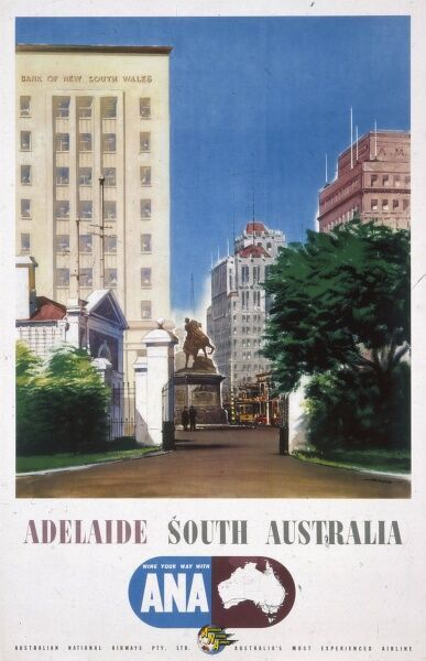 Poster advertising ANA, Australian National Airways, offering flights to Adelaide in South Australia