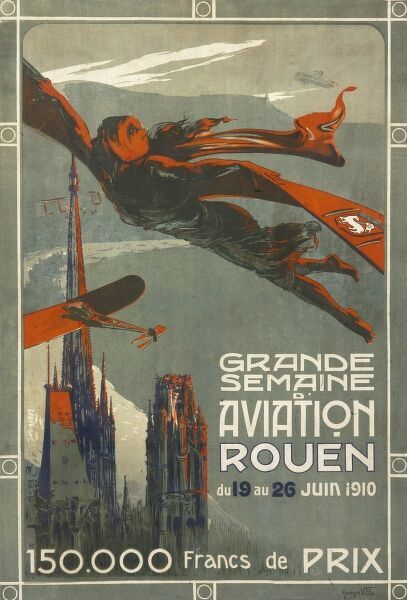 Poster advertising an aviation week at Rouen, 19 to 26 June 1910