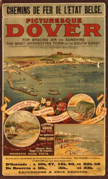 Poster advertising trips between Dover and Ostend