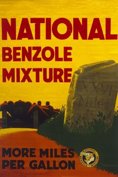 Poster advertising National Benzole Mixture, giving more miles per gallon