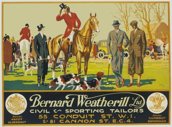 Poster advertising Bernard Weatherill Ltd, civil and sporting tailors of Conduit Street and Cannon Street, London. A foxhunting scene on the village green is depicted