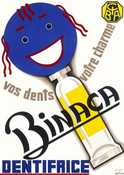 French poster for CIBA advertising Binaca toothpaste. Your teeth are your charm
