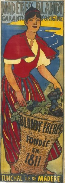 Poster advertising Blandy Freres madeira wine. The company was founded in 1811 by John Blandy