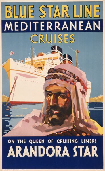 Poster advertising Blue Star Line Mediterranean cruises on the Queen of cruising liners, the Arandora Star