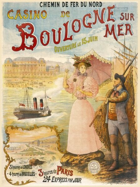 Poster for French railways, advertising Boulogne sur Mer and its Casino