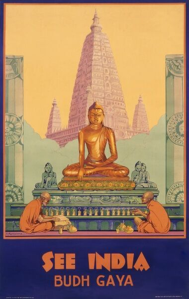 Poster advertising India and the Budh Gaya, or Bodh Gaya, a famous place of Buddhist pilgrimage