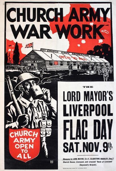 Poster advertising a Church Army fundraising Flag Day in Liverpool, to support the charity's war work. Showing a recreation hut and a soldier drinking a mug of tea