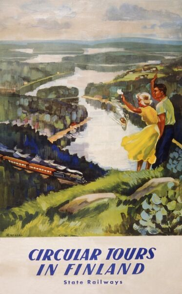 Poster advertising circular tours in Finland. A holidaying couple stand on top of a hill, waving to a speeding train below