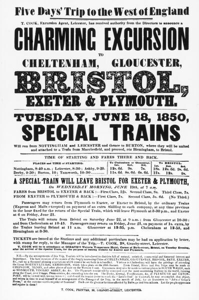A poster advertising a Cook's Tours railway excursion, described as a 'charming excursion' to the West of England, calling at Cheltenham, Gloucester, Bristol, Exeter and Plymouth, in special trains organised by Thomas Cook, Excursion Agent