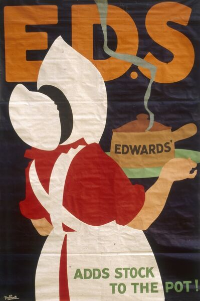 Poster advertising Edwards' soups -- adds stock to the pot! A plump cook carries a steaming pot to the table