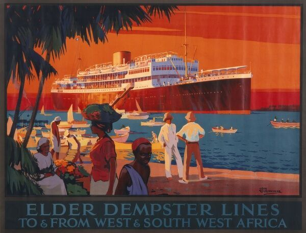 Poster advertising the Elder Dempster Lines for services to and from West and South West Africa