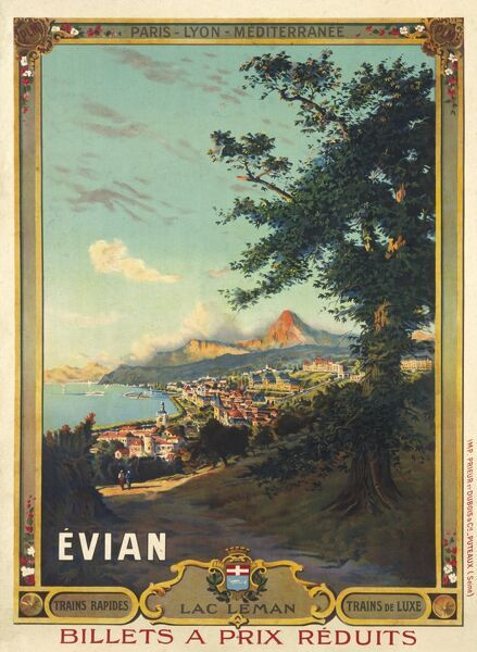 Poster for French railways advertising Evian les Bains, on the southern side of Lake Geneva, just across the border in Switzerland
