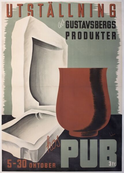 Poster advertising an exhibition of pottery made by the Gustavsberg company in Sweden