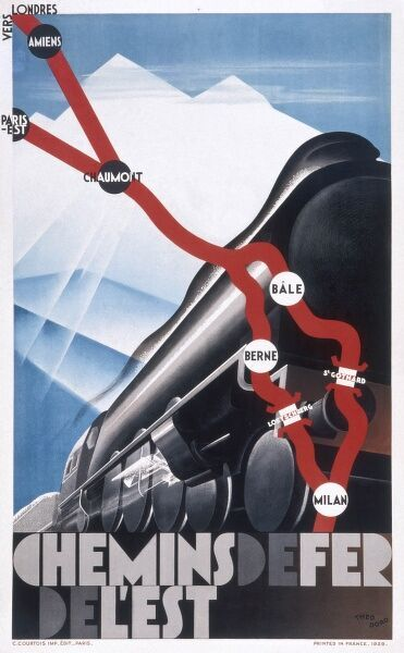 Poster advertising French railways, showing the route of the Chemins de Fer de l'Est between London in the north west to Milan in the south east, calling at various destinations on the way, including Amiens, Paris, Chaumont, Basle and Berne